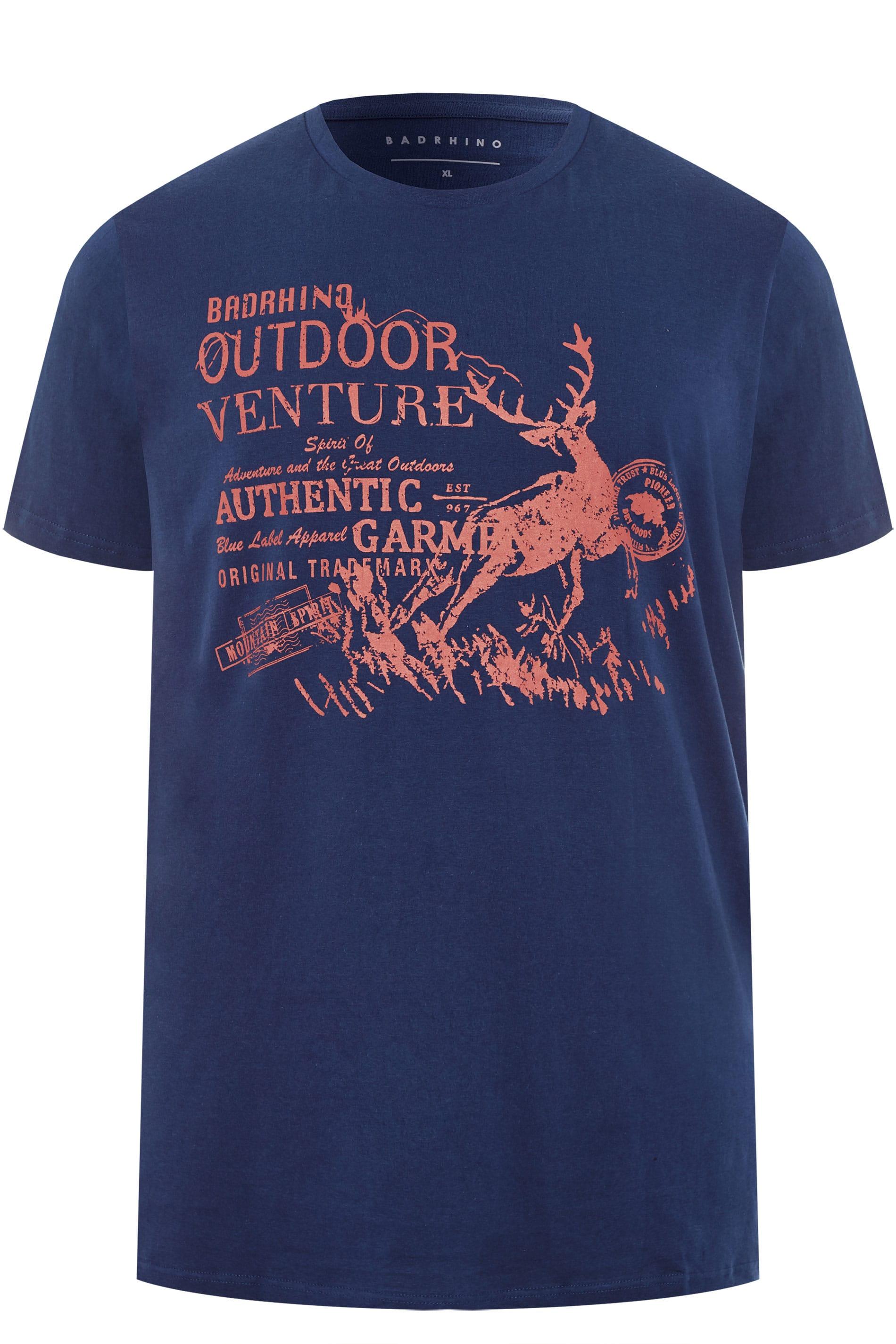 BadRhino Navy Stag Print T-Shirt
