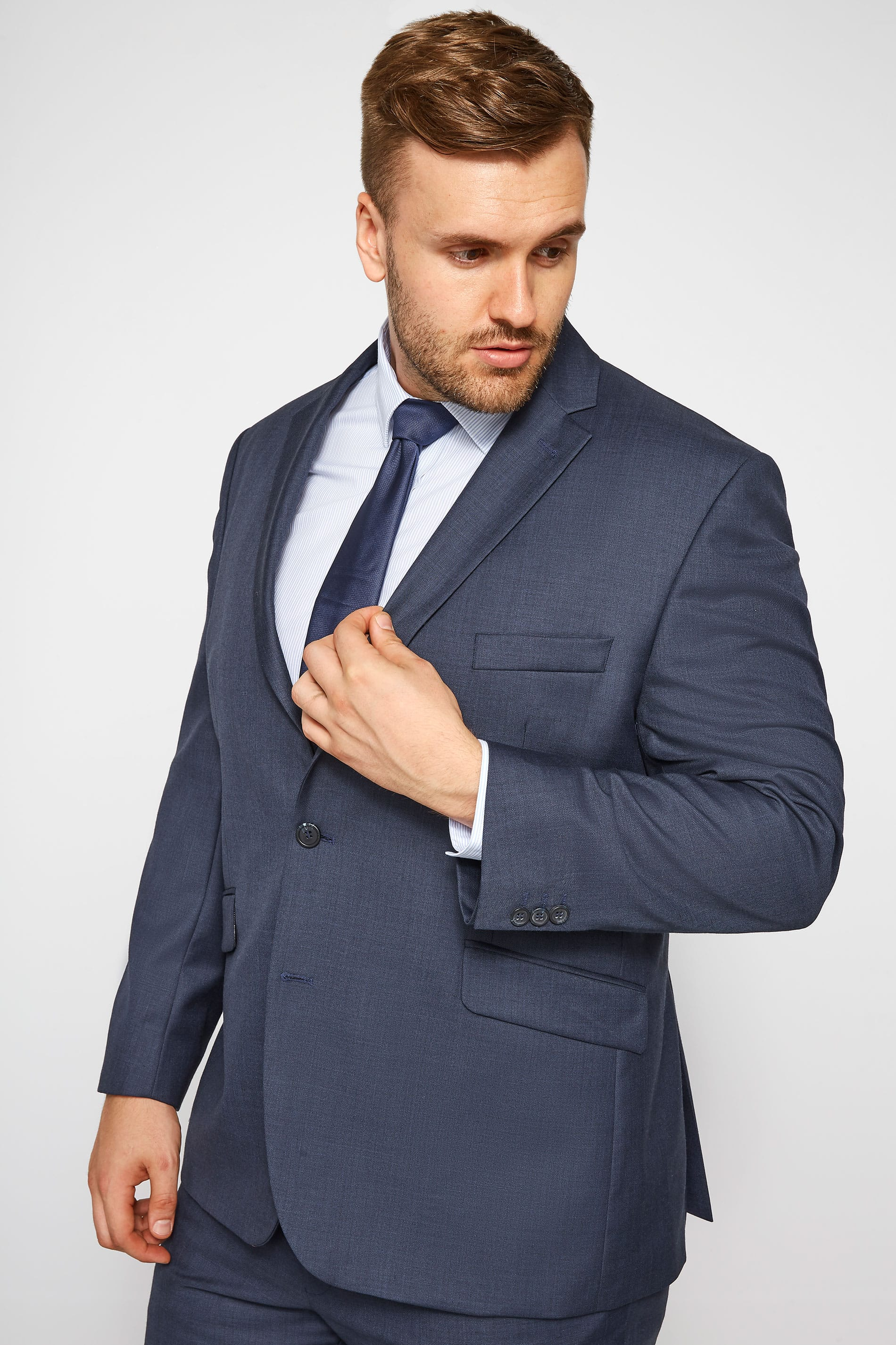 BadRhino Navy Sharkskin Suit Jacket