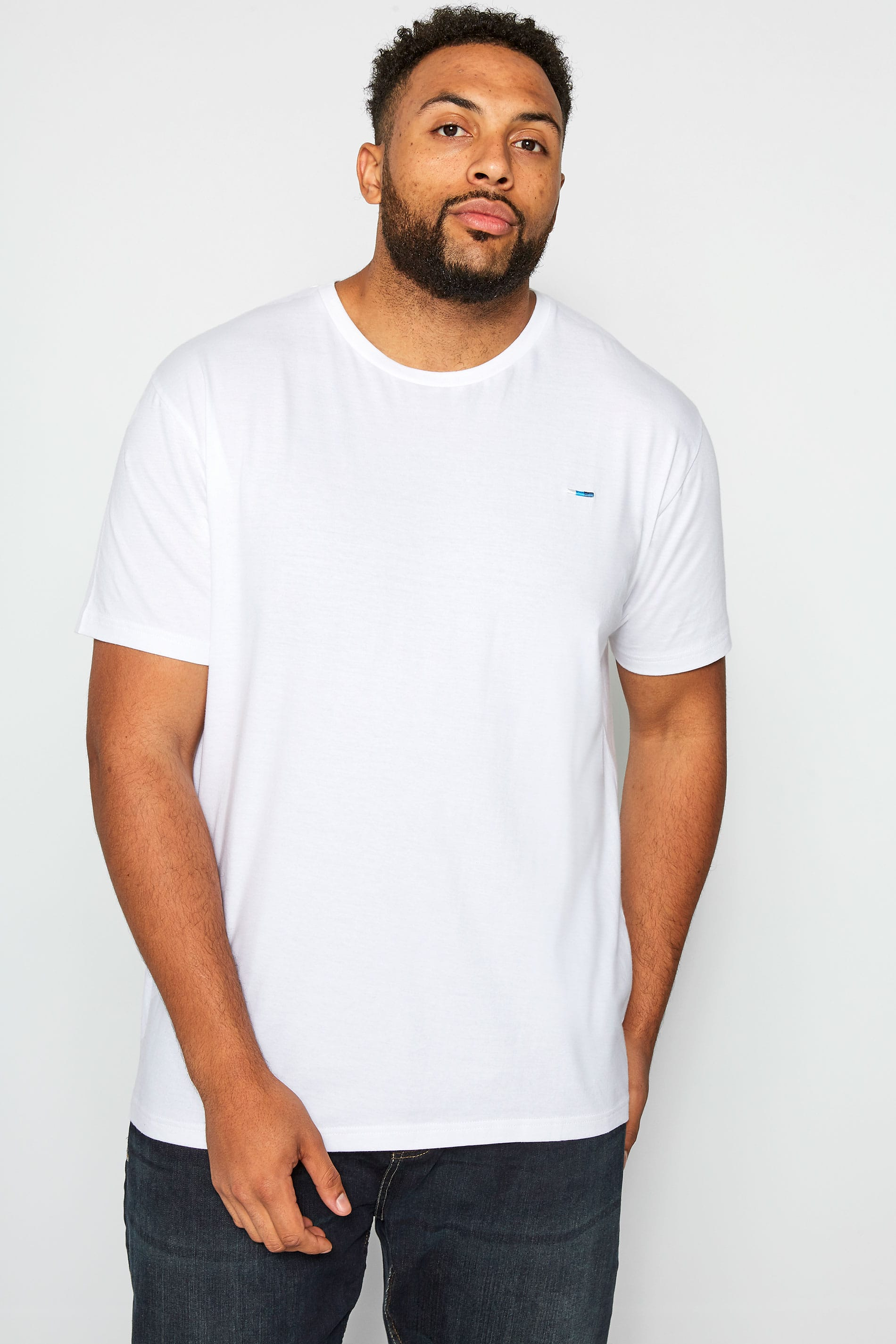 BadRhino Plain White Crew Neck T-Shirt