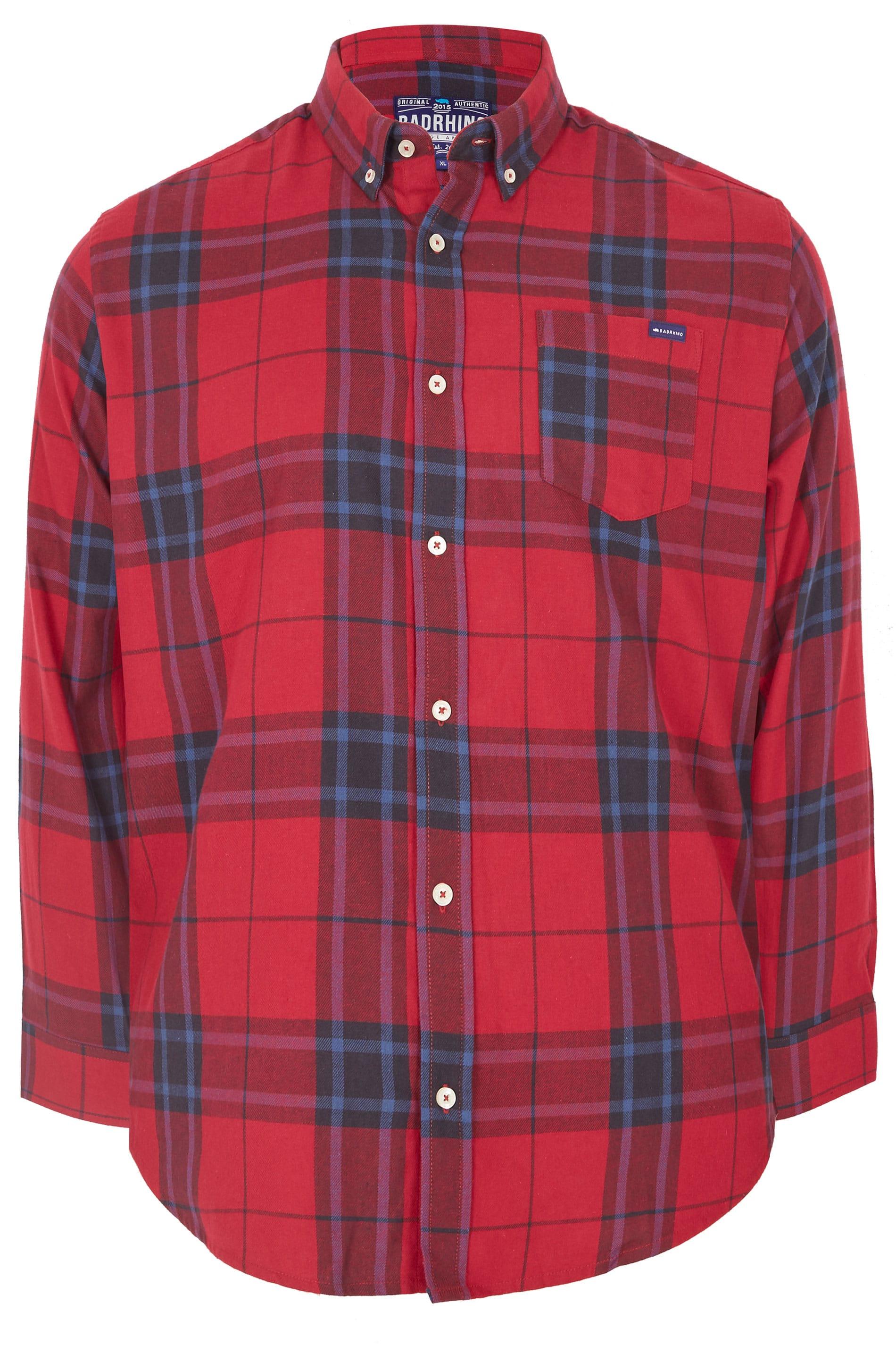 Badrhino Mens Red /& Blue Checked Shirt