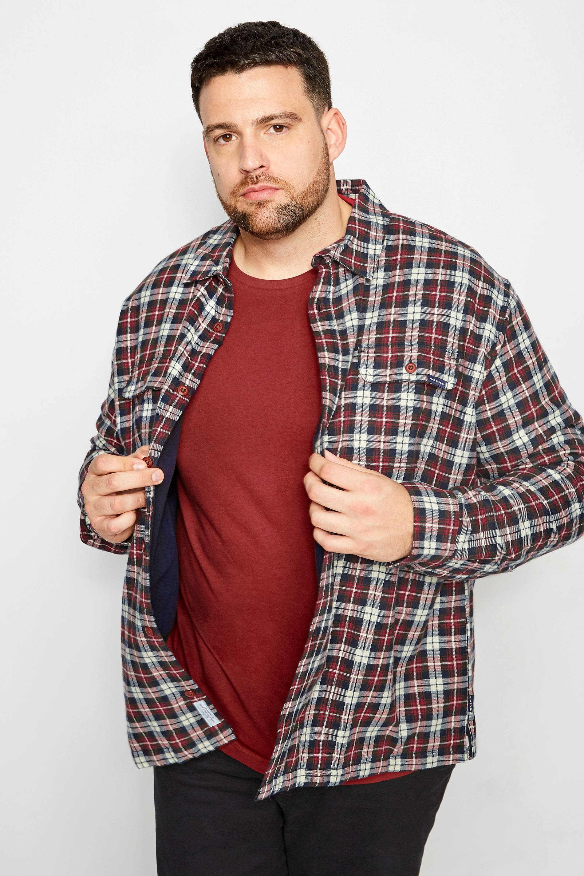 BadRhino Red & Navy Checked Padded Shirt With Fleece Lining