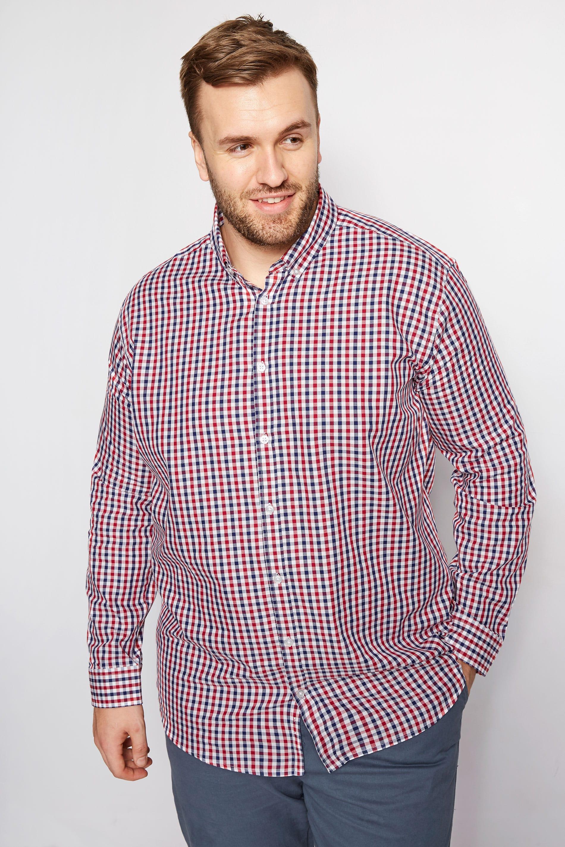 BadRhino Red & Navy Gingham Check Shirt