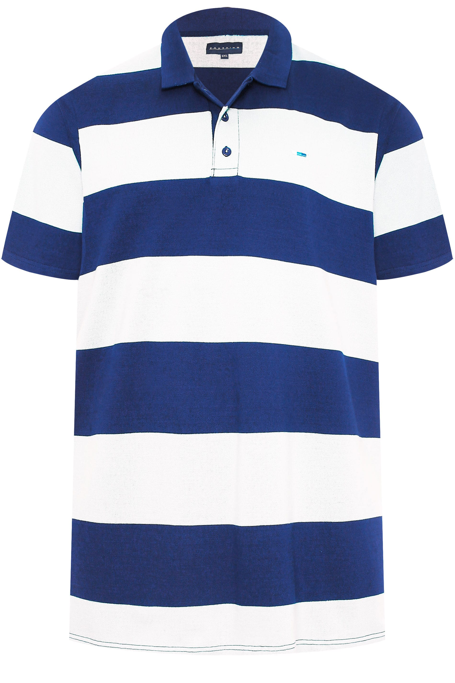 scintilla dentista capitolo  BadRhino Royal Blue & White Block Striped Polo Shirt | BadRhino