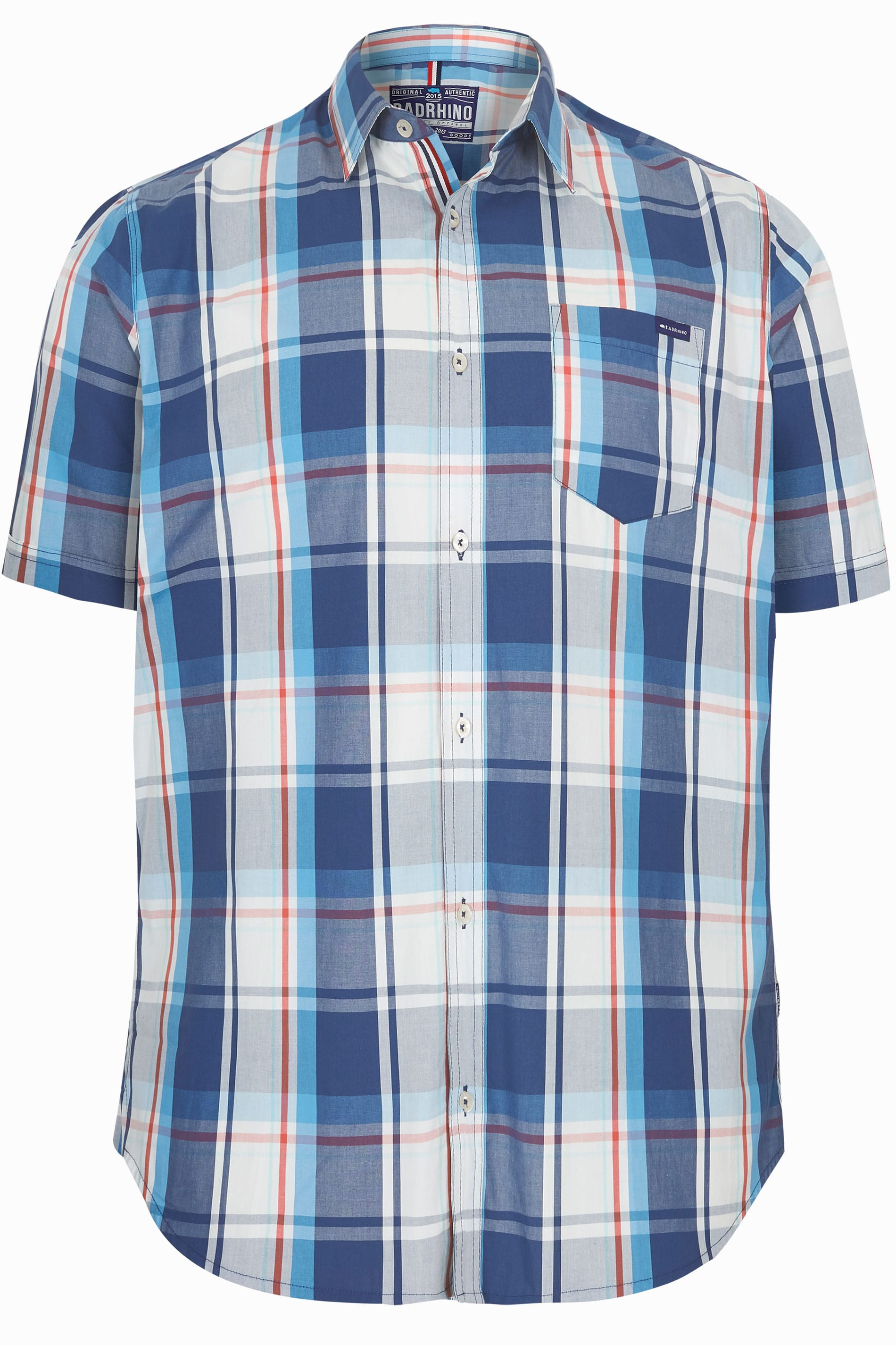 BadRhino Turquoise Blue Check Short Sleeve Shirt