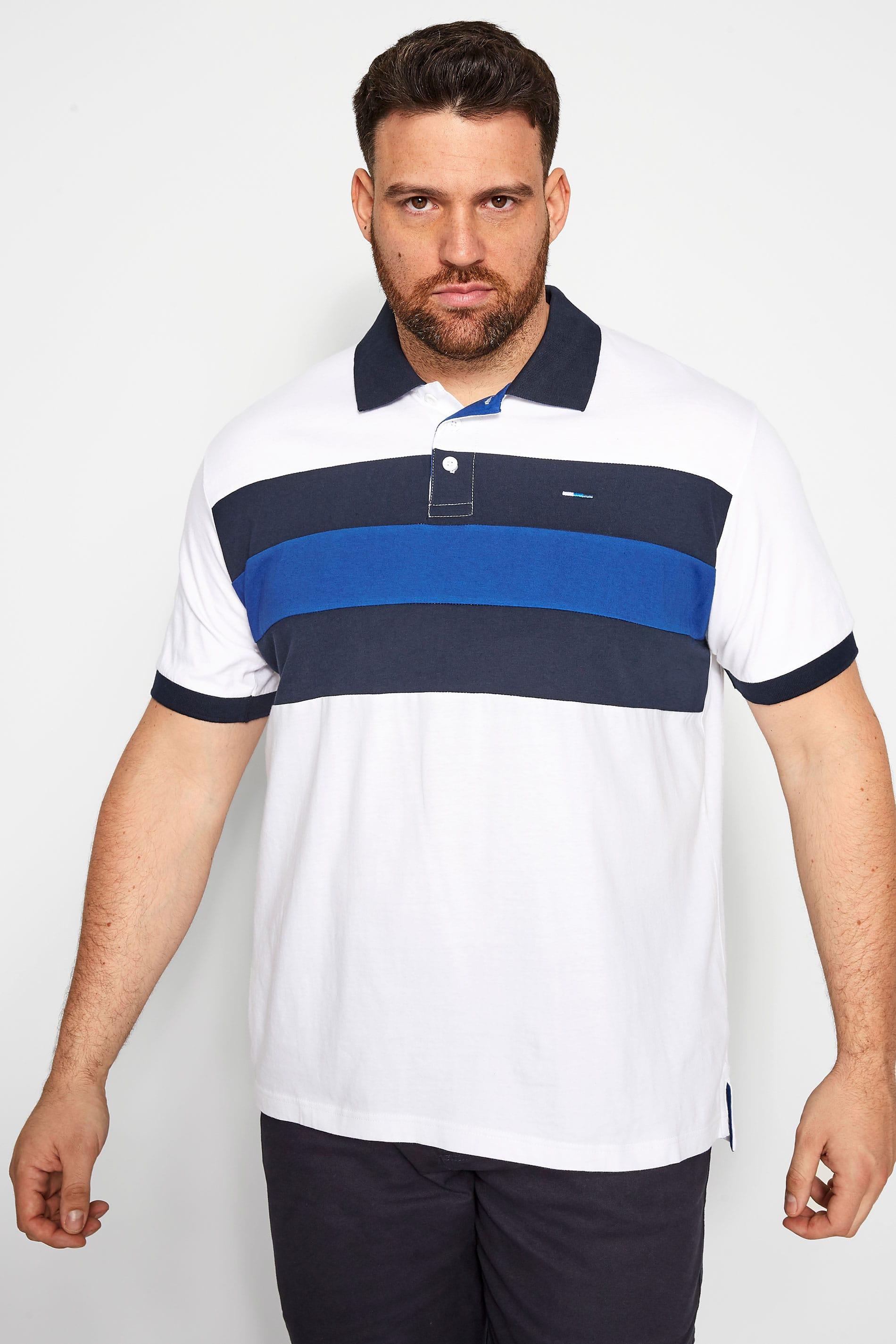 BadRhino - Poloshirt met kleurvlakken in wit-blauw