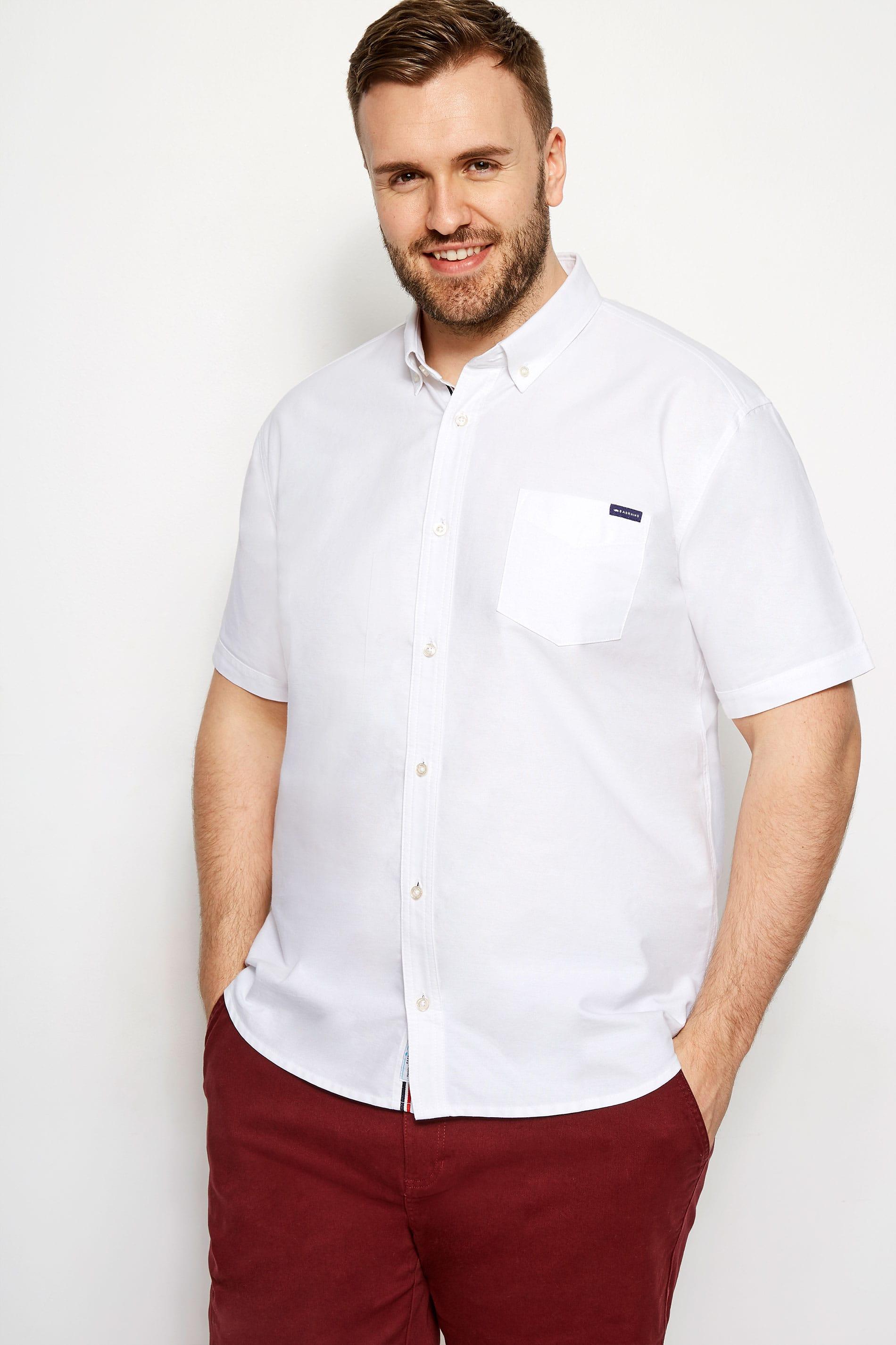 BadRhino White Cotton Short Sleeved Oxford Shirt