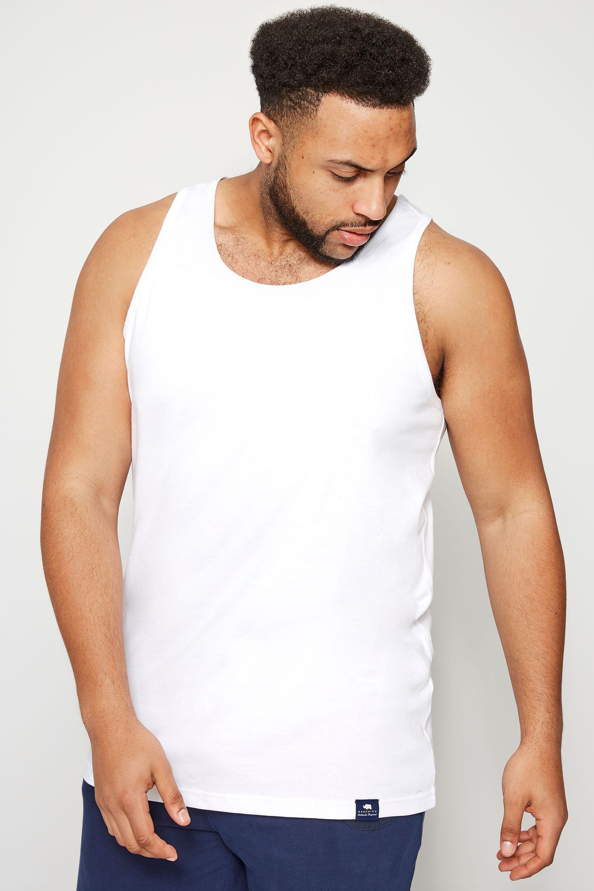 BadRhino White Plain Crew Neck Cotton Vest