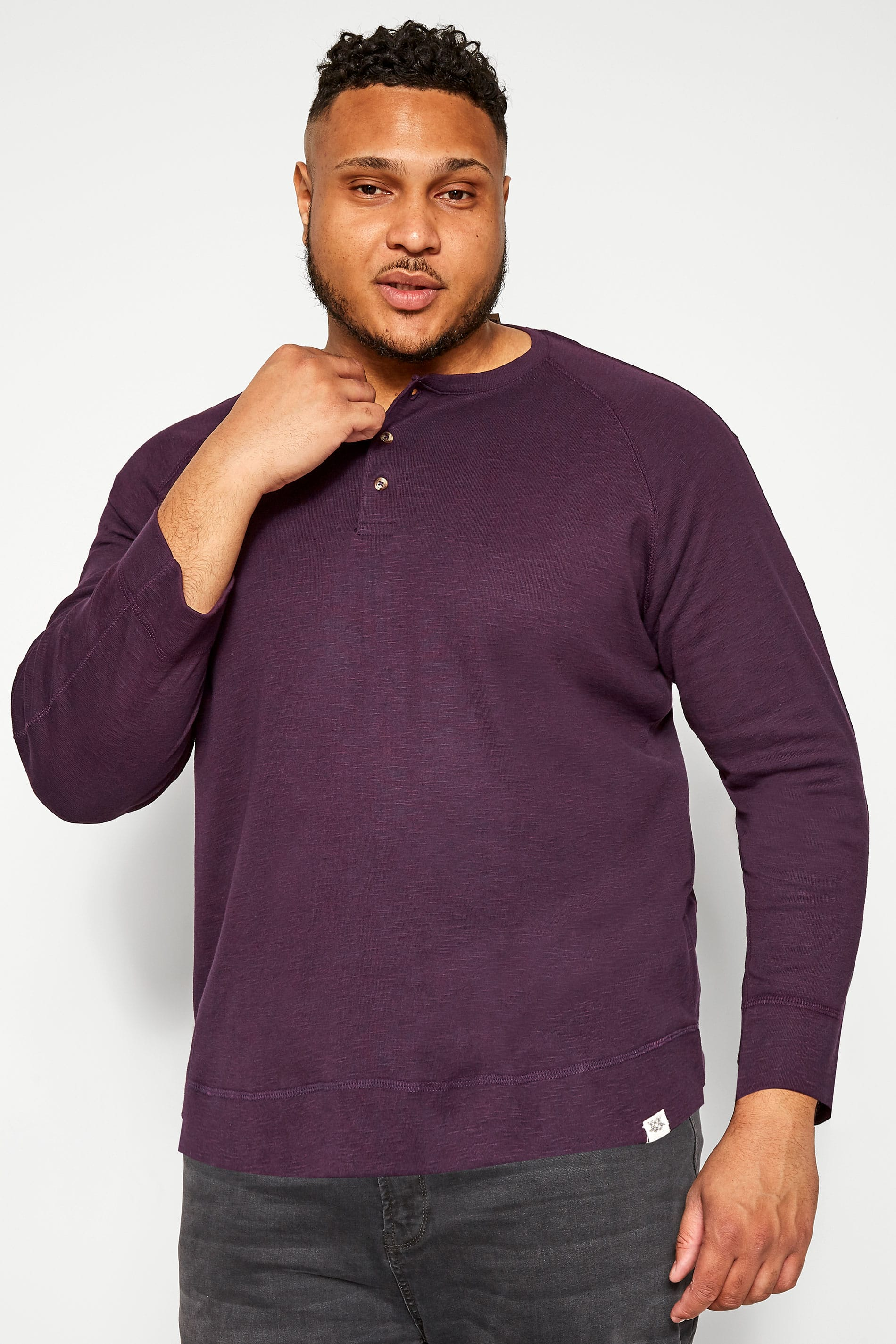 BAR HARBOUR Purple Marl Grandad Sweatshirt