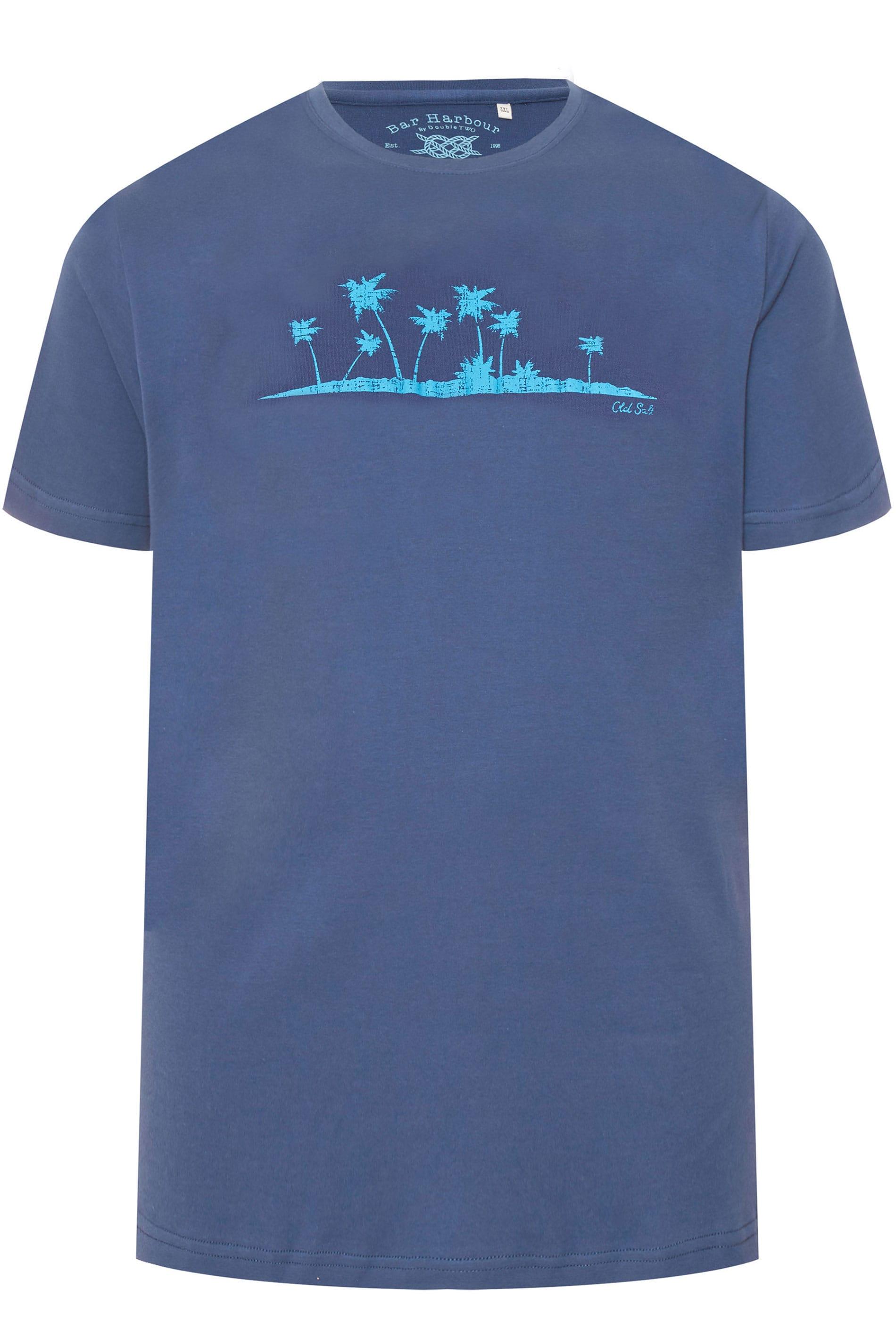 BAR HARBOUR Navy Palm Tree Printed T-Shirt