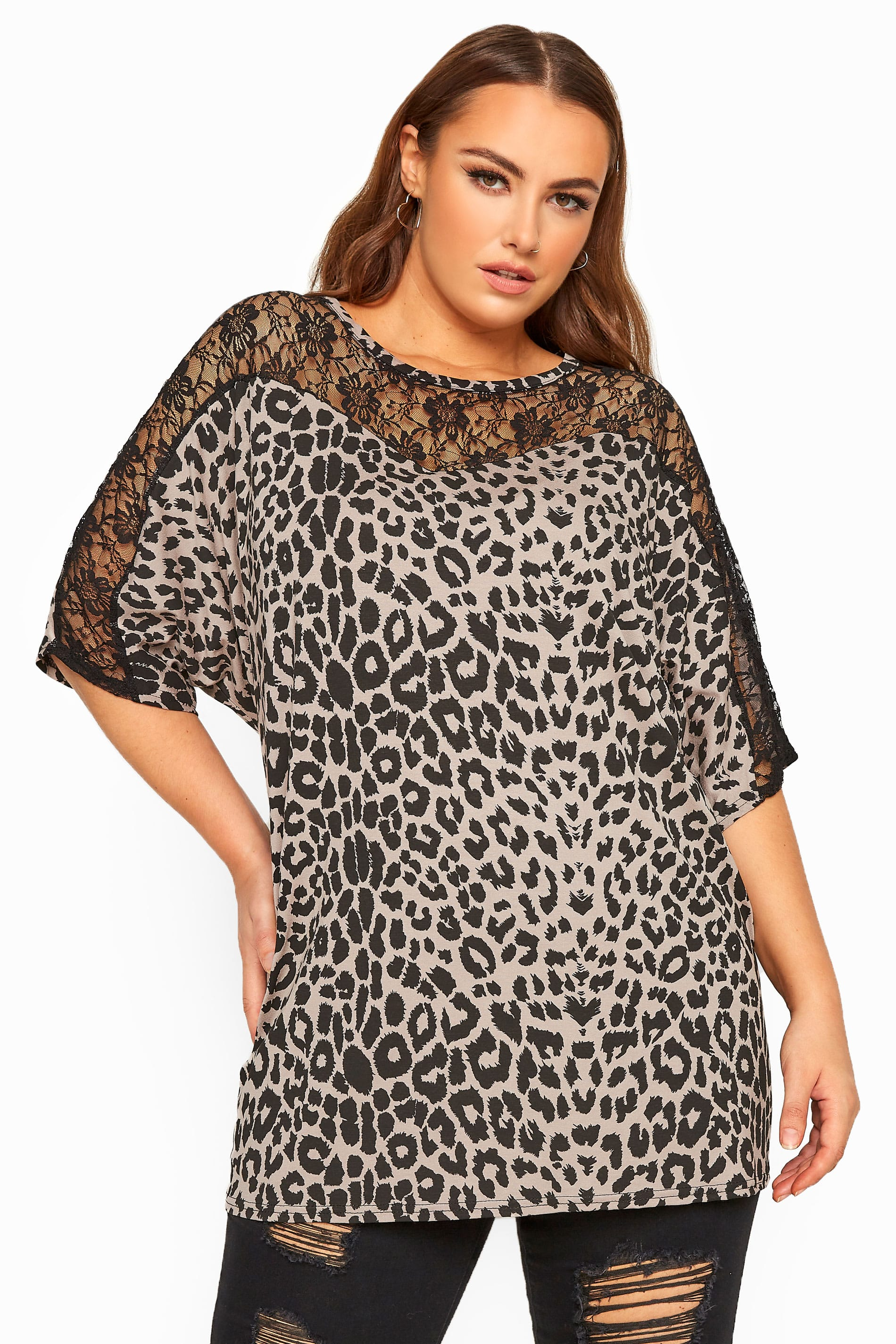Nude Animal Print Lace Insert Top