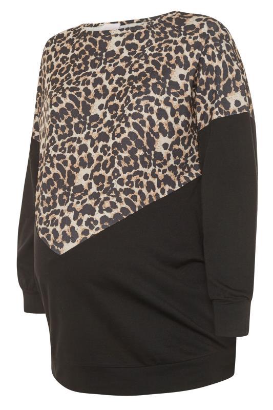 Plus Size  BUMP IT UP MATERNITY Black Leopard Print Colour Block Sweatshirt