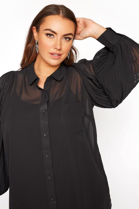 YOURS LONDON Black Pleated Balloon Sleeve Shirt_D.jpg