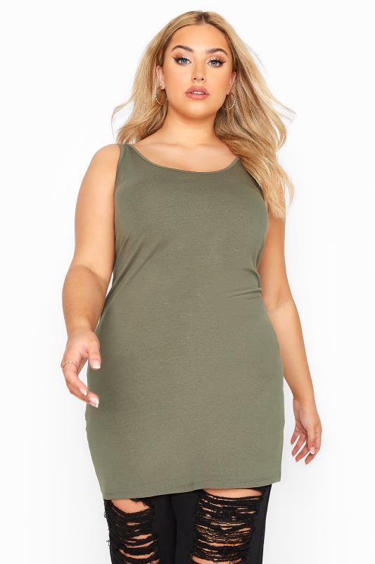 Plus Size  Khaki Longline Vest
