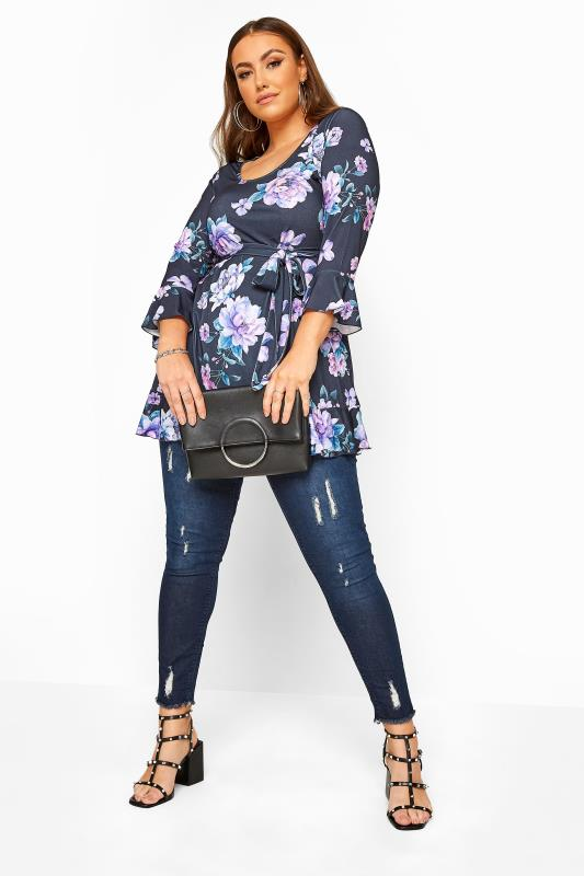 YOURS LONDON Navy Floral Frill Belted Top_B.jpg