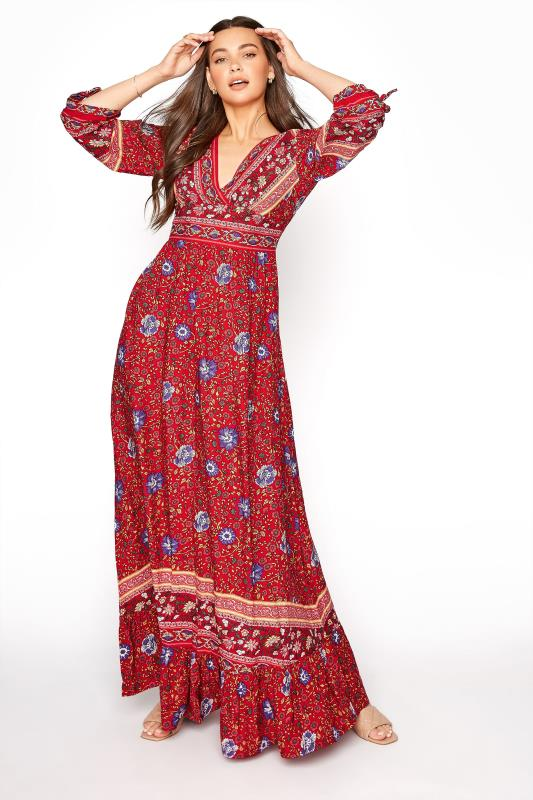 Tall  LTS Red Floral Frill Boho Maxi Dress