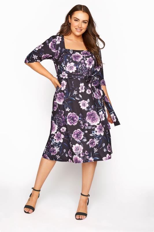 Plus Size  YOURS LONDON Black Floral Milkmaid Skater Dress