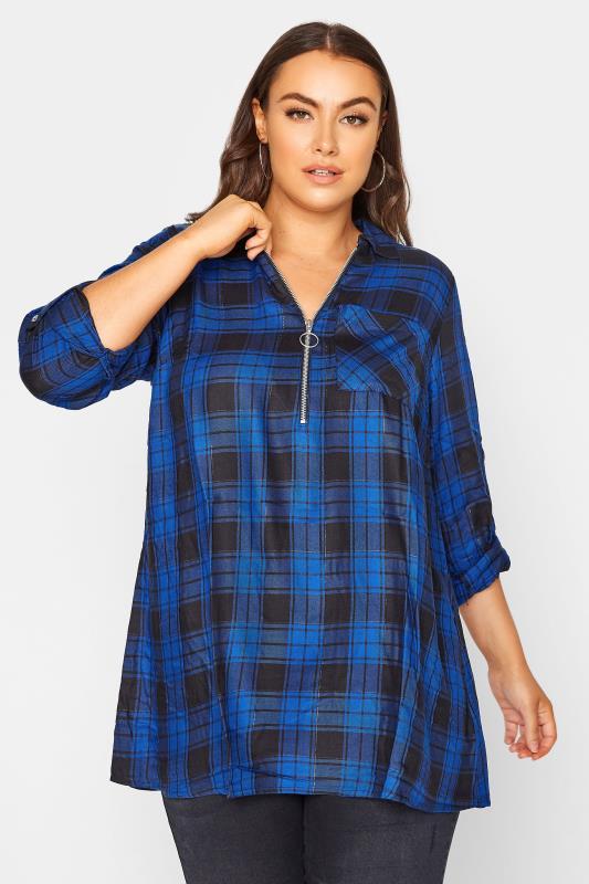 Plus Size  Cobalt Blue Zip Check Shirt