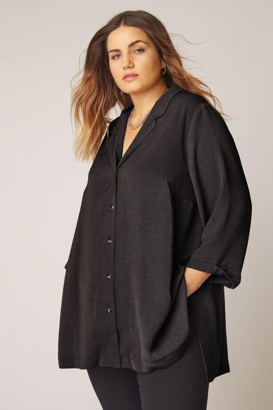 THE LIMITED EDIT Black Open Collar Blouse_A.jpg