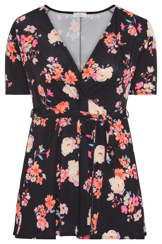 YOURS LONDON Black Neon Floral Belted Wrap Top_F.jpg