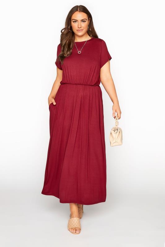 YOURS LONDON Wine Red Pocket Maxi Dress_B.jpg