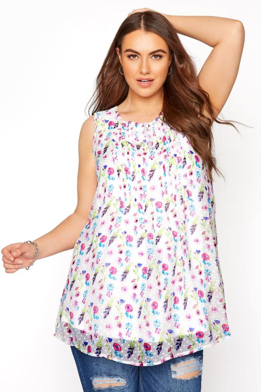 Grande Taille White Floral Pleat Front Sleeveless Dobby Top