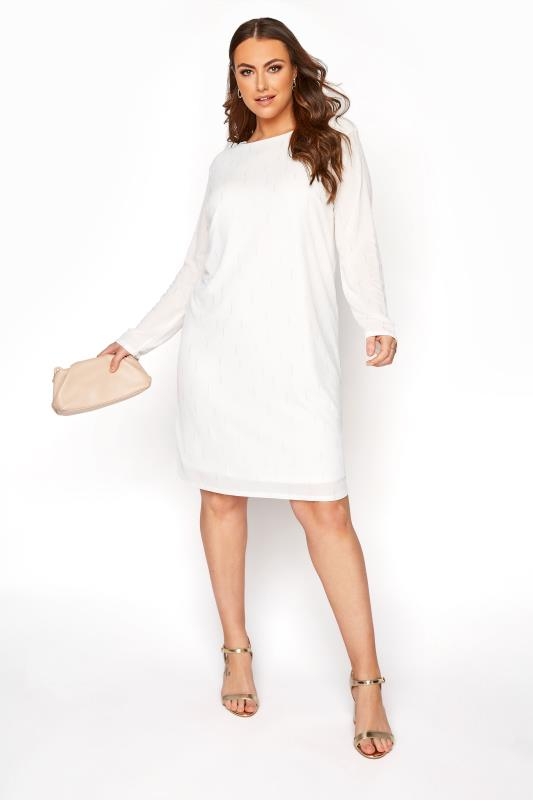 Plus Size  YOURS LONDON White Silver Foil Shift Dress