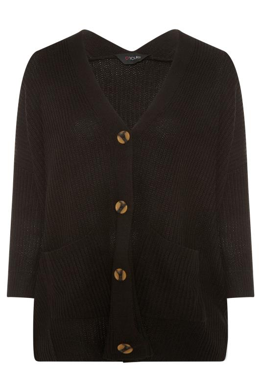 Plus Size  Black Button Knitted Cardigan