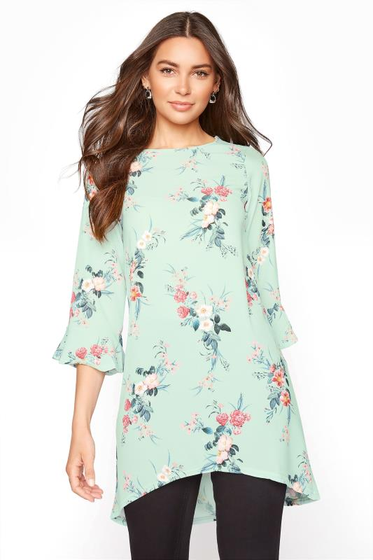 Tall  LTS Sage Green Floral Flute Sleeve Tunic