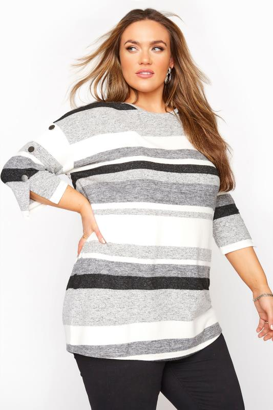 Grey Stripe Mock Button Soft Knitted Top