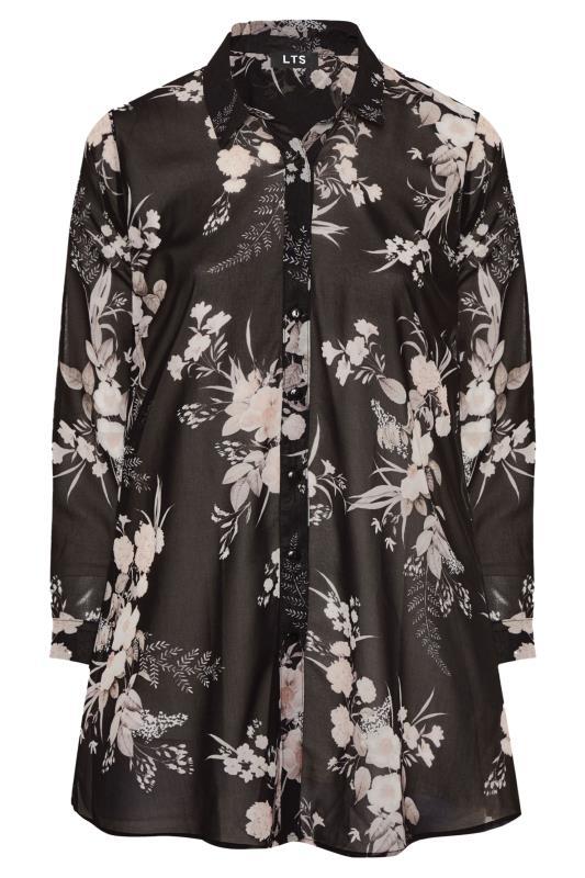 LTS Black Floral Longline Chiffon Shirt_F.jpg