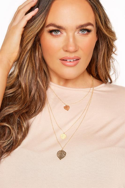 Plus Size  Gold Filigree Leaf Tiered Necklace