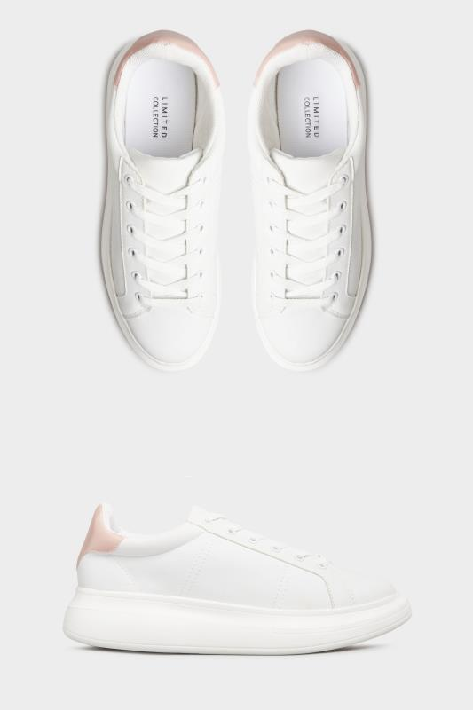 LIMITED COLLECTION White & Pink Vegan Leather Platform Trainers In Wide Fit_split.jpg