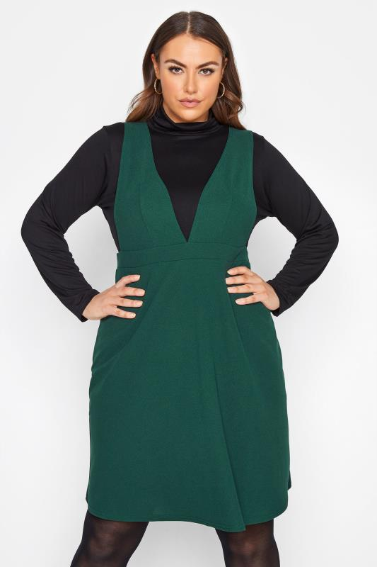 Plus Size  LIMITED COLLECTION Forest Green Scuba Pinafore Dress