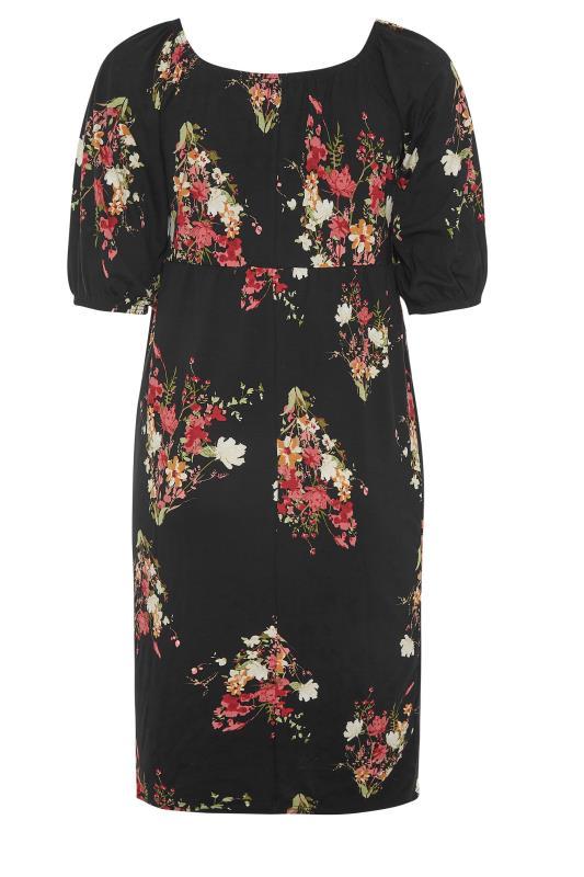 BUMP IT UP MATERNITY Black Floral Milkmaid Midi Dress_BK.jpg