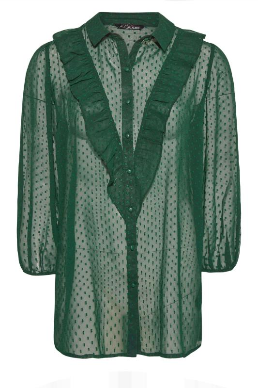 Plus Size  LIMITED COLLECTION Forest Green Dobby Chiffon Shirt