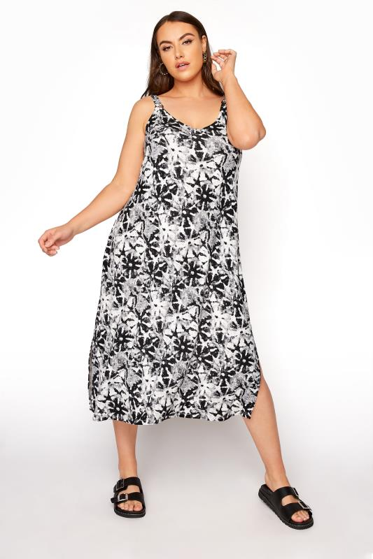 Plus Size  Black Floral Ring Detail Dress