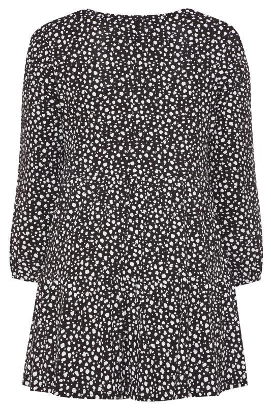 Black Dalmatian Print Balloon Sleeve Tiered Smock Tunic