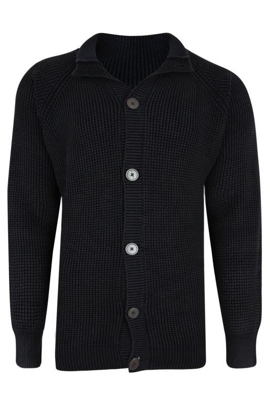 Men's  KAM Black Button Through Knitted Jumper