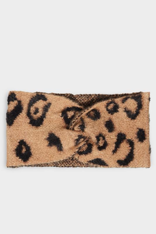 Brown Leopard Print Twist Knot Faux Fur Headband_F.jpg