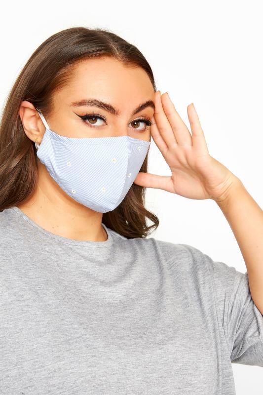 Light Blue Daisy Print Stripe Antibacterial Face Mask_A.jpg