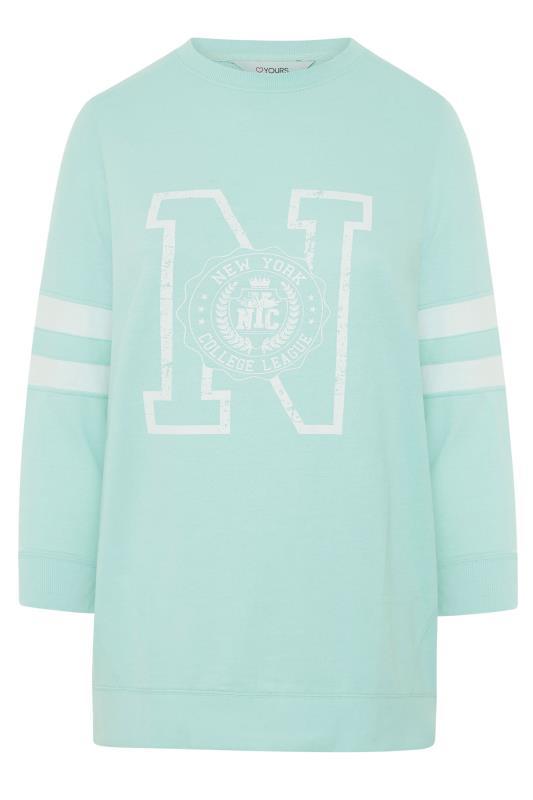 Mint Blue Varsity Stripe New York Sweatshirt