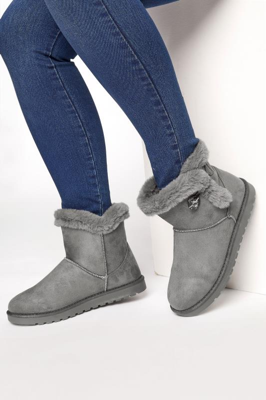 Plus Size  Grey Gem Button Fur Boots in Regular Fit