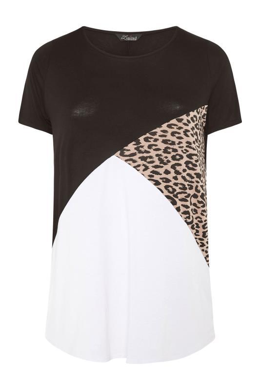 LIMITED COLLECTION Black Leopard Print Colour Block T-Shirt_F.jpg