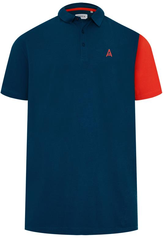 Plus Size Polo Shirts STUDIO A Navy & Red Colour Block Polo Shirt