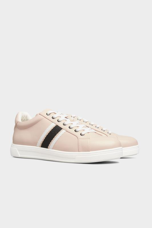 Pink Vegan Faux Leather Stripe Trainers In Extra Wide Fit_B.jpg
