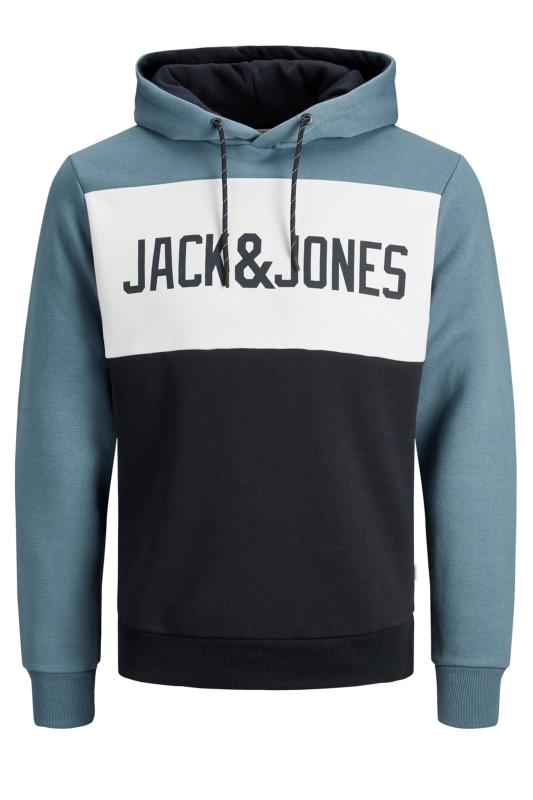 Men's Hoodies JACK & JONES Blue Logo Colour Block Hoodie