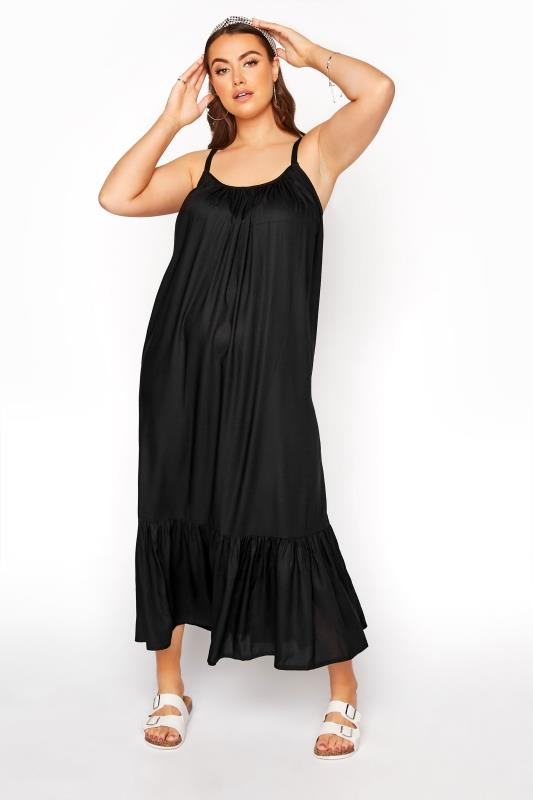 Plus Size  Black Strappy Beach Dress
