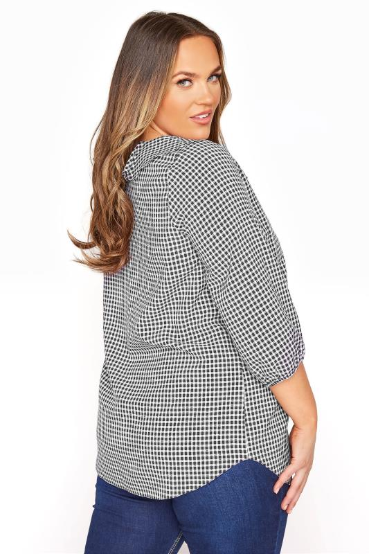 YOURS LONDON Black Gingham Frill Front Blouse_C.jpg