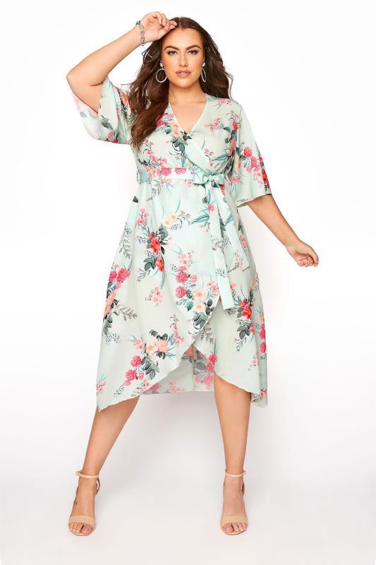 Großen Größen  YOURS LONDON Sage Floral Wrap Dress