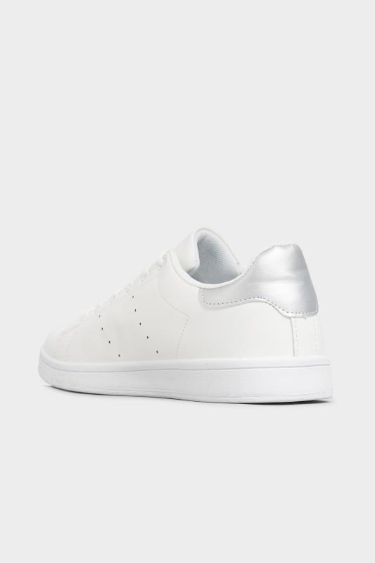 LIMITED COLLECTION White & Silver Vegan Faux Leather Trainers In Wide Fit_C.jpg